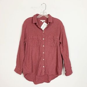 Madewell | maroon button down flannel size small